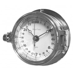 Chrome 24 Hour Marine Clock 116mm